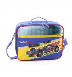 Retro schooltas racewagen